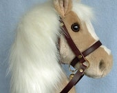 Hobby horse, stick horse, Palomino plush fur fabric. Top quality with hardwood pole and wheels and removable leather bridle with bell