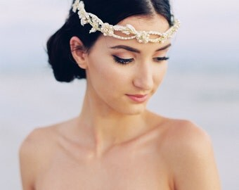 Gold Bridal Headband. Bridal Headpiece. Bridal Crown {Margarita}