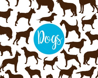 Dog Clip art, Dog Silhouette Digital Clipart, Scrapbooking, dog, puppy, silhouette, dogs, animals - Commercial & Personal - Instant Download