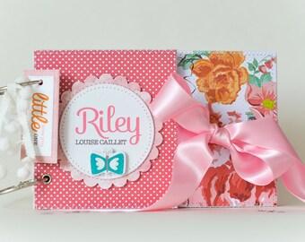 Handmade Baby Memory Book, Baby Girl Diary Memory Book, Custom Baby Book, Personalised First Year Baby Book