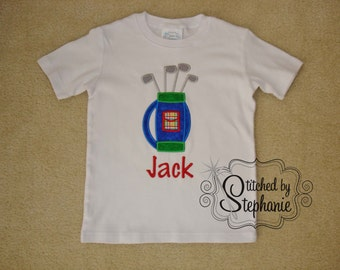 Baby and Toddler Boys Embroidered Personalized Monogrammed with Name Golf Bag Applique Short or Long Sleeve shirt or bodysuit