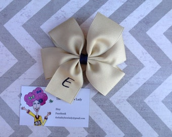 Khaki and Navy Monogrammed Hair Bow