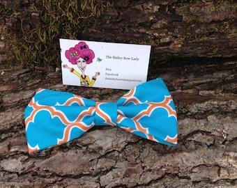 Monogrammed Turquoise and Orange Lattice Hair Bow