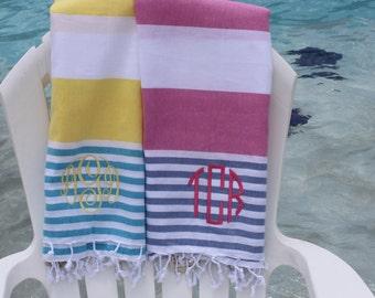 Monogram Turkish Towel Peshtemal Beach Cabana Stripe Personalized Monogrammed Gift