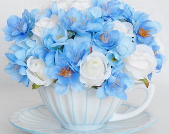 Teacup Silk Flower Arrangement, White Mini Rosebuds, Blue Whimsical Flowers, Vintage White & Blue Teacup, Artificial Flower Arrangement,