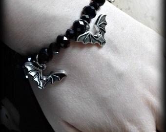 Gothic Halloween black glass crystal bat bracelet