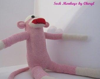 Original Sock Monkey Pink Rockford Red Heel Soft Doll Handmade