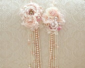 Fresh Water Pink Pearls Handmade Ribbon Flower Necklace by Jennelise Rose