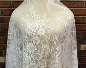 Light Ivory Lace, Lace Fabric, Soft Lace, Chantilly Lace, Floral Lace, Bridal Lace, Bridal Supply, Wedding Dress Lace C10