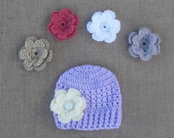Baby girl Hat, Hat with 5 changable Flowers, Girl crocheted Hat, Newborn Hat, Purple Flower Hat, Photo Prop, Crochet Hat, 4 Sizes