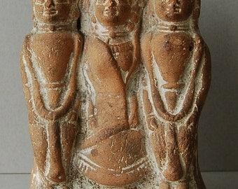 Vintage terracotta figurine Egyptian Indian Asian terracotta figures Ethnic terracotta statue Triad amulet Group of three figures