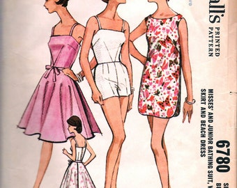 Vintage 1963 McCall's 6780 Bathing Suit, Wrap Skirt & Beach Dress Sewing Pattern Size 12 Bust 32""