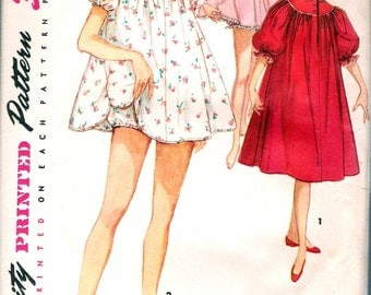 Vintage 1955 Simplicity 1102 Nightgown, Shortie & Panties Sewing Pattern Size 14 Bust 32""