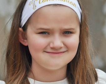 First Communion, First Communion Gift, Embroidered Headband, Custom Headband, Catholic Gift, Catholic Faith, Catholic Gifts, Communion Gifts