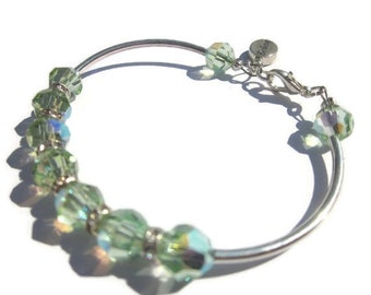 Believe Bracelet- Swarovski Crystal Ball Bracelet , Bangle, Inspiration, Christian, Summer Jewelry, Sterling Silver Charm