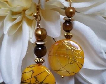 Earrings- Yellow Mother of Pearl Disc Dangle Earrings