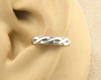 Ear Cuff, Cartilage Earring, Sterling Silver, Braided Wire Pattern, Ear Band, Cartilage Cuff, Non Pierced, Gift Under 10