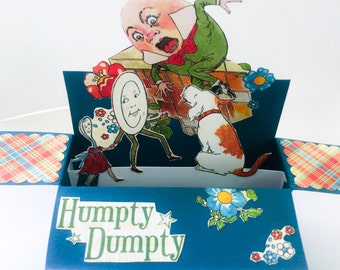 Unique Handmade cards - Mother goose - Humpty Dumpty - little Lamb - Bedtime stories - kids Birthday - box pop up cards - 3D box cards