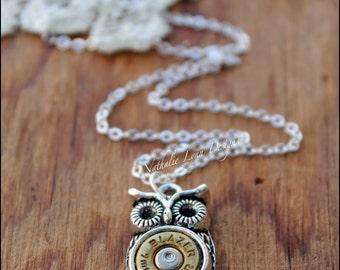 Owl Necklace, Owl Jewelry, Owl Bullet Necklace,  Bullet Necklace, Silver Necklace, Ammo Necklace, Bullet Jewelry, Bird Necklace