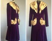 RESERVED for Lori * 1940s Purple Velvet Suit Skirt and Jacket with Fur Collar & Pockets - M/L