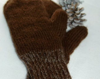 """Mittens """"Mount Garibaldi"""" for women - hand knit in pure qiviut (inner layer) and royal alpaca (outer layer) MADE TO ORDER"""