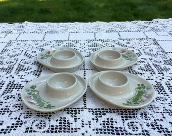 "4 Figgjo Flint Egg Cups /  Norway Mid Century / Farmhouse Breakfast / White Porcelain Egg Cups /  4"" Egg Stand / Scandinavian Egg Cups /"