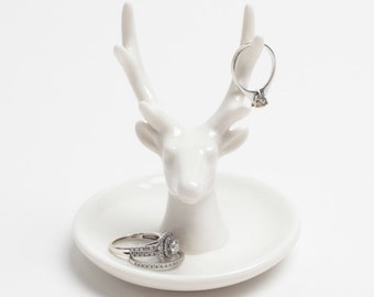 Deer Head Antler Jewelry Holder - White Animal Ring Holder - White Faux Taxidermy Jewelry Dish - Deer Antler Ring Holder - Faux Taxidermy