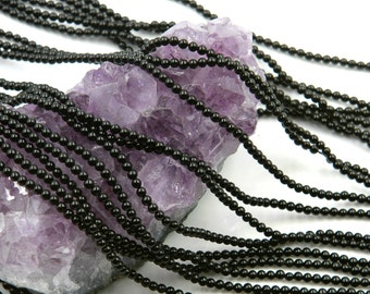 """Lot of 10 Strands 2mm Black Onyx Beads Round 15.5"""" (BD3023)"""