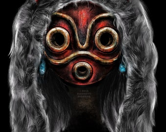 Princess Mononoke Anime Inspired Realistic Mask Digital Painting - signed museum quality giclée fine art print