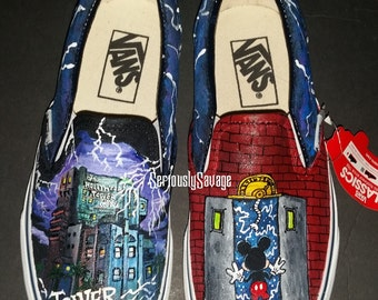 Tower Of Terror Disneyland Disney California Adventure Mickey Mouse Haunted House Twilight Zone Custom Painted Shoes Vans Converse Toms