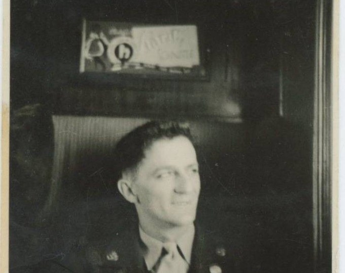 Soldier on a Train, c1940s Vintage Snapshot Photo (61444)