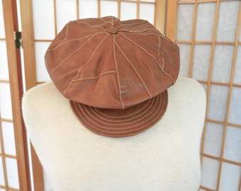 Vintage Leather Newsboy Cap in Brown Leather Patches by Wilson Leather