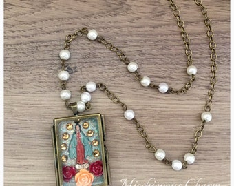 Day of the Dead Virgin Mary Nicho Pendant Necklace