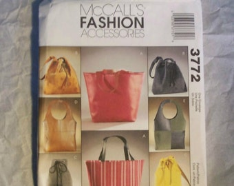 McCalls 3772 Fashion Accessories Purses Bags Pattern