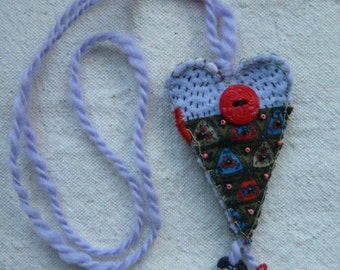 Periwinkle and Red/Turquoise and Linen Heart Amulet/Necklace