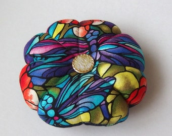 Pincushion DRAGONFLY fabric - Great for a sewing gift. Double Sided dragonflies. Round Pincushion. rose teal navy blue colours.