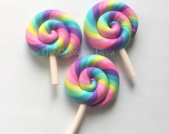 Swirly Rainbow Lollipops - 3 pcs | Kawaii Decoden Supplies | Polymer Clay Cabochons | Miniature Sweets | DIY Phone Case