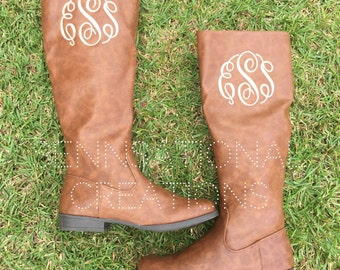 SALE!!! Monogrammed Boots, Black Boots, Brown Boots, Monogrammed Shoes, Riding Boots, Monogrammed Shoes, Fall Boots