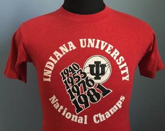 80s Vintage Indiana Hoosiers University 1981 NCAA Champs T-Shirt - MEDIUM