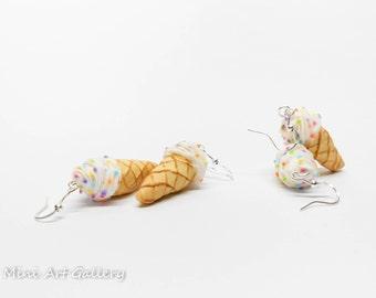 Ice-cream earrings Tutti Frutti soft serve / ice cream cone / colorful kawaii earrings / mini food jewelry miniature charm / polymer clay