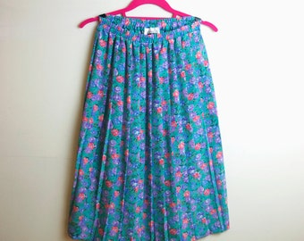 Vintage 70's Vivid Floral Mod Pleated Skirt Size Small