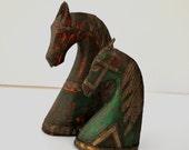 Vintage Statue Set   Horse Busts   Wood & Brass Metal   Primitive
