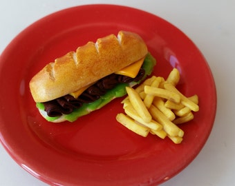 Hoagie Sub Sandwich with French Fries - Clay Doll Food
