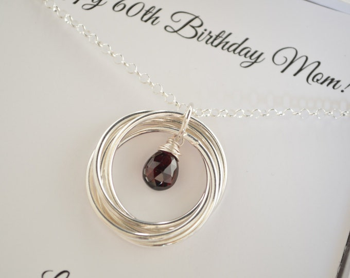60th Birthday Gift for Mom and Grandma Necklace, 6 Rings Necklace, 6th Anniversary Gift for Her, January Birthstone Jewelry, Garnet Necklace