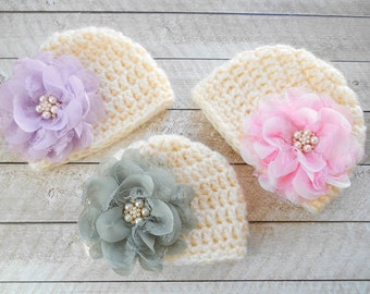Baby girl hats, crochet baby hats , knitted baby hats, baby hat with flower, baby shower gift, hospital hats, cute hats, soft baby hat