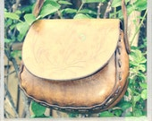 Vintage 70's Leather purse, Messenger bag, leather tooled vintage bag, upcycled recycled, distressed leather bag, free people, hippie, boho