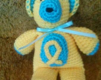 Spina Bifida Awareness bear in Yellow and aqua