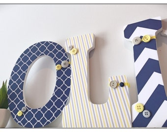 Boys Nursery Letters. Chevron. Polka Dots.  Nursery decor. Name letters. Buttons. Navy. Nursery. Baby. Yellow.