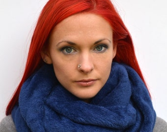 Navy blue infinity scarf, gift for her, fleece scarf, girlfriend, cowl scarf, chunky scarf, fleece cowl, christmas scarf, cosy