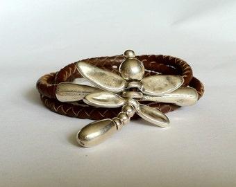 dragonfly Bracelet. braided leather bracelet, wrap bracelet.  leather bracelet with silver plated  dragonfly. leather bracelet, silver